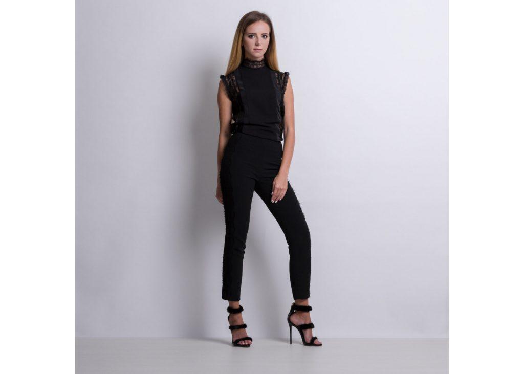 czarne spodnie damskie z koronką