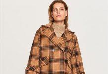 ciepły płaszcz w kratę