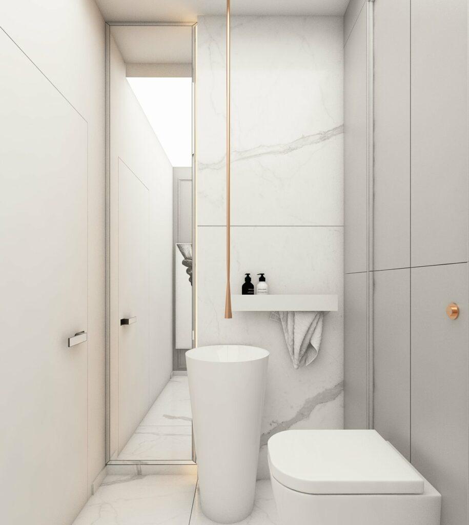 Toaleta dla gości w małym mieszkaniu